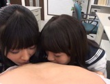 Juicy Asian schoolgirls with round asses share one big cock picture 14
