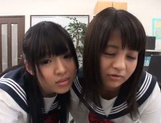 Juicy Asian schoolgirls with round asses share one big cock