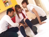 Schoolgirl with hairy pussy Mao Andoh gives a perfect cock ride