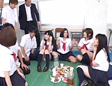 Awesome orgy group action with sexy Asian babes picture 12
