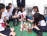 Awesome orgy group action with sexy Asian babes picture 14