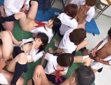 Awesome orgy group action with sexy Asian babes picture 77