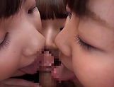 Japanese AV model and schoolgirl friends enjoy hot tit fucking