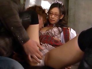 Japanese AV model in her school uniform and glasses gets banged hard