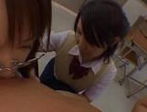 Naughty Asian chicks enjoying a big dick during class