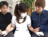 Sakura Chinami gets fucked in a threesome picture 14