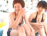 Sexy Japanese babe in bikini gets her shaved pussy fucked hard picture 12