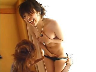 Sexy Japanese babe in bikini gets her shaved pussy fucked hard