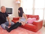 Naughty Asian teen, Aya Miyazaki gets shaved pussy insertions