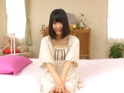 Karin Maizono Asian teen with tight shaved pussy craves for hardcore sex