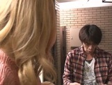 Appetizing blond Karen Uehara enjoys toy and cock in her shaved pussy