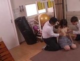 Naughty schoolgirl Iku Natsumi gets licked and gets cumshot on muff picture 11