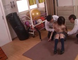 Naughty schoolgirl Iku Natsumi gets licked and gets cumshot on muff picture 12