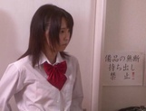 Naughty schoolgirl Iku Natsumi gets licked and gets cumshot on muff picture 2