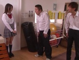 Naughty schoolgirl Iku Natsumi gets licked and gets cumshot on muff picture 3