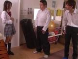 Naughty schoolgirl Iku Natsumi gets licked and gets cumshot on muff