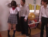 Naughty schoolgirl Iku Natsumi gets licked and gets cumshot on muff picture 5