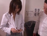 Naughty schoolgirl Iku Natsumi gets licked and gets cumshot on muff picture 6