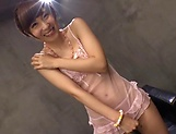 Itou Hatenatsu in pink lingerie enjoys dildo action picture 1