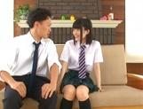 Horny Asian teen couple in school uniform having hardcore sex