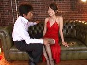 Makoto Yuuki pretty Asian gal in sexy red dress gets cumshot