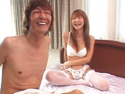 Sexy Japanese redhead in white fishnet stockingsNaho Ozawa rides on cock