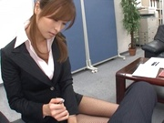 Savory Asian doll Akari Asahina giving head