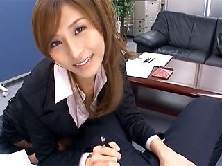 Savory Asian doll Akari Asahina giving head