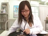 Busty JP doctor Mashiro Yuuna with shaved cunt sucks cock in POV picture 13