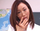 Kinky female teacher Shizuku Morino sucks and rides dick on pov picture 12