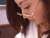 Kinky female teacher Shizuku Morino sucks and rides dick on pov picture 21