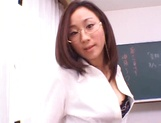 Kinky female teacher Shizuku Morino sucks and rides dick on pov picture 30