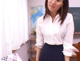 Kinky female teacher Shizuku Morino sucks and rides dick on pov picture 3