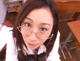 Kinky female teacher Shizuku Morino sucks and rides dick on pov picture 46