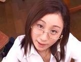 Kinky female teacher Shizuku Morino sucks and rides dick on pov picture 52