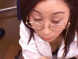 Kinky female teacher Shizuku Morino sucks and rides dick on pov picture 57