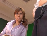 Stunning Japanese teacher Akari Asahina fucks her horny male student picture 9