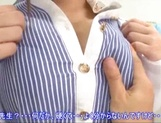 Big boobies Japanese teacher in glasses getting screwed in POV picture 8
