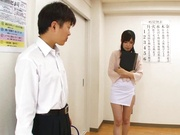 Crazy Japanese female teacher Emi Nanjyou sucks and rides cocks