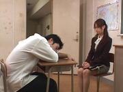 Sexy teacher Akiho Yoshizawa spreads legs for a tasty dick in her twat