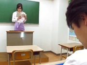 Sugary Japanese teacher Emi Nanjyou has sex with her horny student