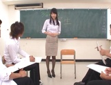 Sexy Tokyo teacher Airi Mikami strips and gets banged by her students picture 11