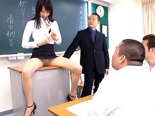 Sexy Tokyo teacher Airi Mikami strips and gets banged by her students
