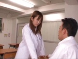Busty Asian teacher with shaved pussy Mashiro Yuuna fucked on pov