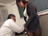 Busty teacher Makise Ai knows handle cocks picture 11
