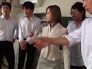 Seductive teacher Kirishima Rino enjoys steamy group sex