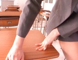 Dirty Asian teacher Chika Sena blows tasty dick while masturbating