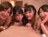 Lucky guy gets a reversed gangbang with hot Japanese AV Models picture 14