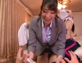 Lucky guy gets a reversed gangbang with hot Japanese AV Models