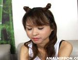 Asian girl with fancy pigtails Akira Shiratori enjoys anal plug picture 4